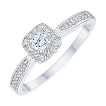 9ct White Gold 0.25ct Diamond Halo Ring - Product number 6434177