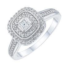 9ct white gold 0.20ct cushion set diamond cluster ring - Product number 6434681