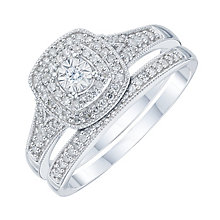 9ct White Gold 0.25ct Diamond Illusion Set Bridal Set - Product number 6435238