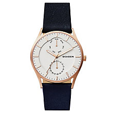 Skagen Men's Holst Multifunction Blue Leather Strap Watch - Product number 6440118