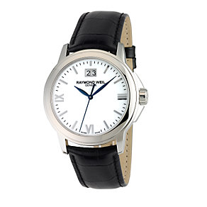 Raymond Weil Geneve men's white dial leather strap watch - Product number 6444288