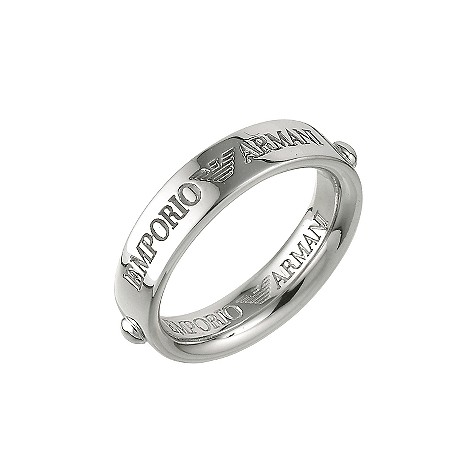 Emporio Armani ladies silver thin logo ring - product image