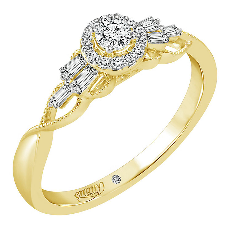 Emmy London 18ct Yellow Gold 1/4ct Diamond Halo Ring - Product number 6446396