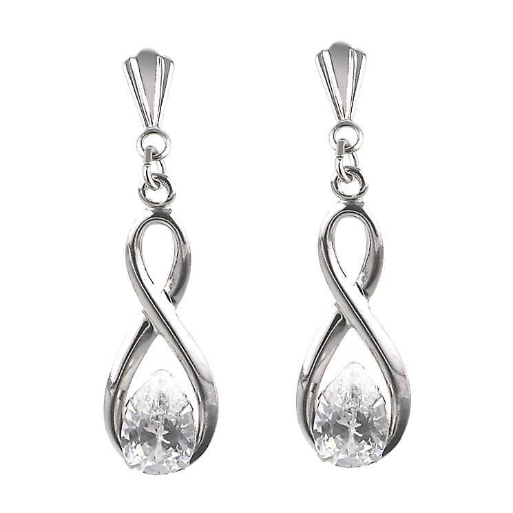 9ct White Gold Figure Of Eight Drop Earrings - Product number 6450458