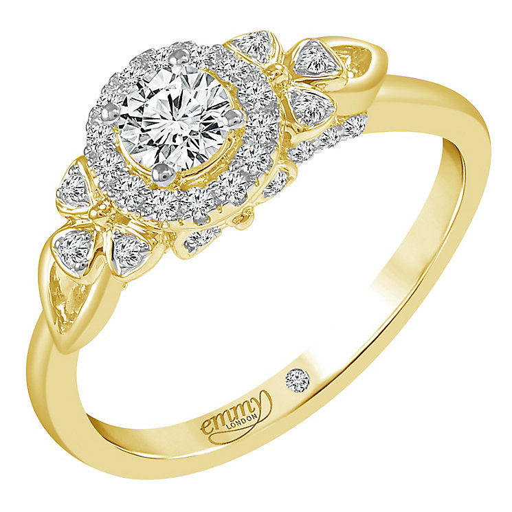 Emmy London 18ct Yellow Gold 1/2ct Round Cut Diamond Ring - Product number 6450695