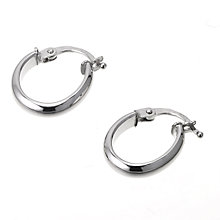 9ct White Gold Oval Creole Earrings 15 x 10mm - Product number 6452817