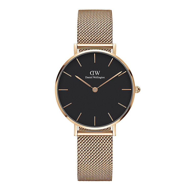 watches h samuel daniel wellington ladies rose gold plated mesh watch product number 6453015