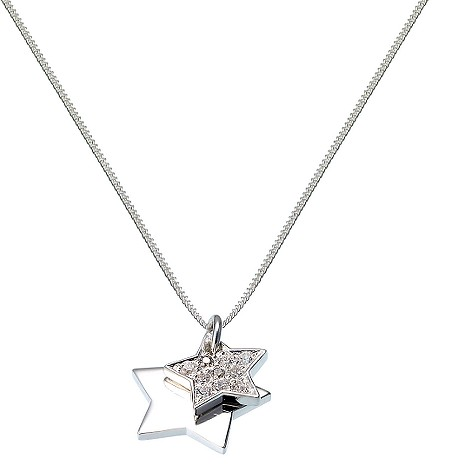Sterling silver cubic zirconia double star pendant product image