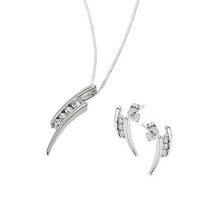 Sterling Silver Cubic Zirconia Kick Pendant and Earrings - Product number 6460801