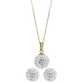 Evoke 9ct Gold Crystal Pendant Ans Earring Boxed Set - Product number 6463800