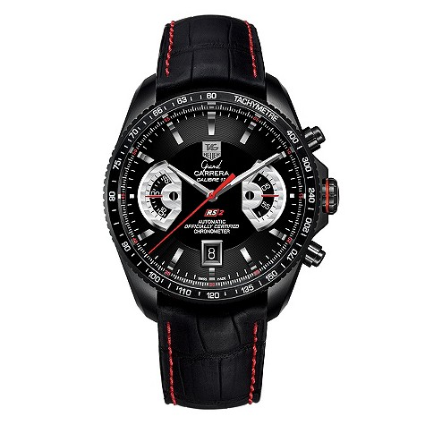 Tag Heuer Grand Carrera titanium black strap watch