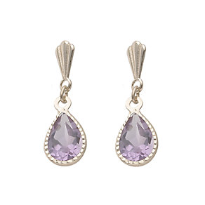 9ct Gold Amethyst Pear Drop Earrings - Product number 6467288