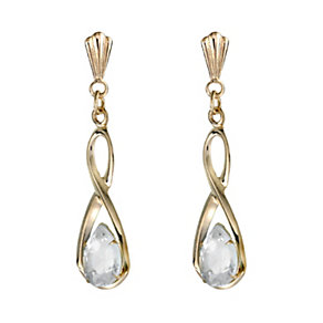 9ct Gold Cubic Zirconia Figure of 8 Drop Earrings - Product number 6467318