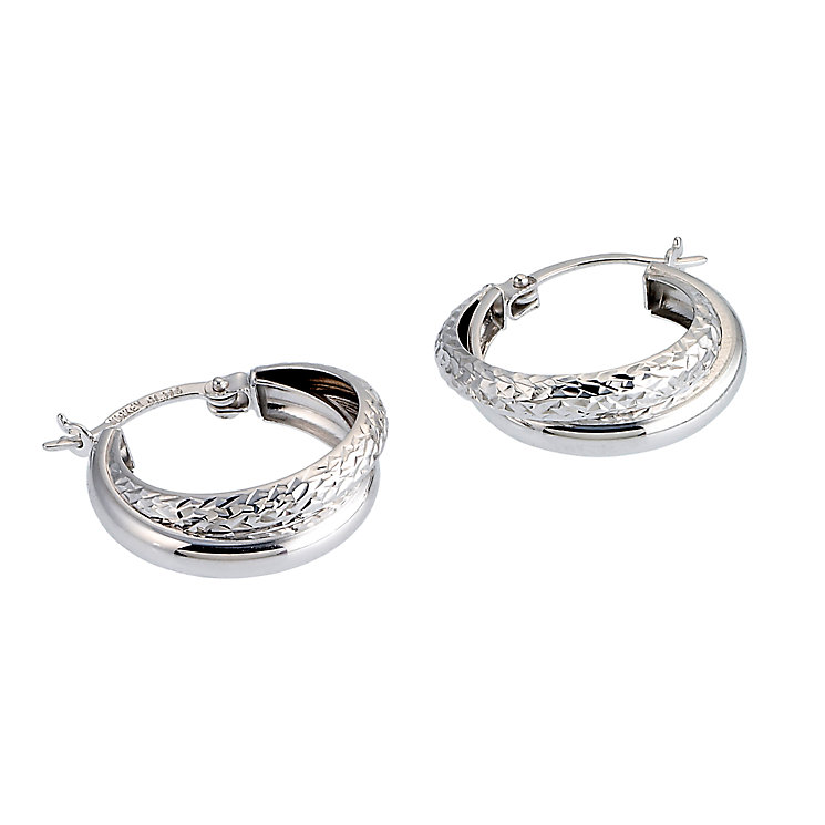 9ct White Gold Double Creole Earrings - Product number 6467539