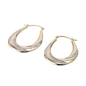 9ct Gold Two Colour Oval 12mm Creole Earrings - Product number 6467962
