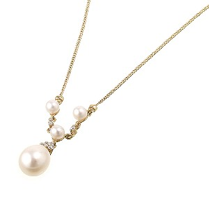 9ct Gold Freshwater Pearl and Cubic Zirconia Necklace