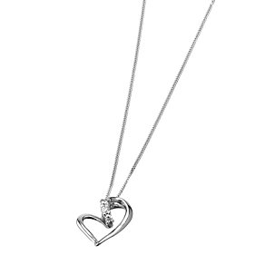 9ct White Gold Cubic Zirconia Set Heart Pendant - Product number 6468640