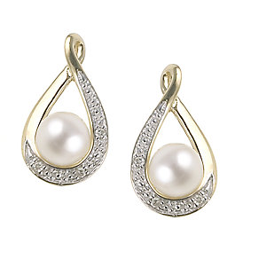 9ct Yellow Gold Freshwater Pearl Diamond Stud Earrings - Product number 6469043