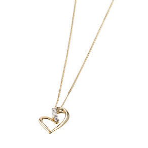 9ct Gold Cubic Zirconia Heart Pendant - Product number 6469124