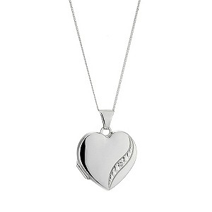 9ct White Gold Diamond Set Locket 18mm