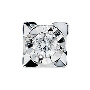 Men's 9ct white gold diamond stud earring - Product number 6469523