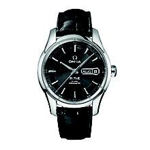 Omega De Ville Hour Vision men's black leather strap watch - Product number 6473229