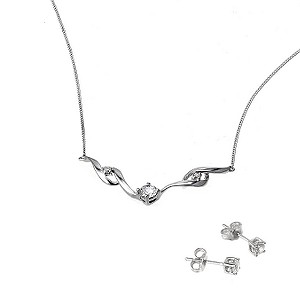 9ct White Gold Cubic Zirconia Necklace Earring Box Set