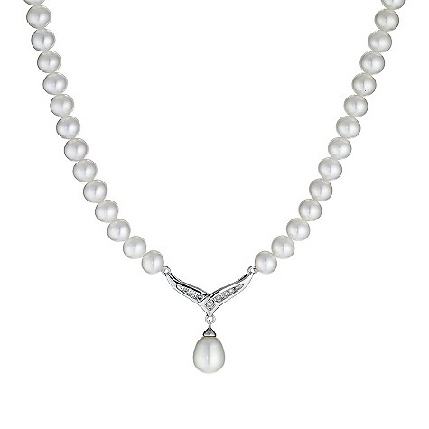 9ct white gold cultured freshwater pearl diamond necklace