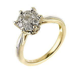 9ct Two Colour Gold Diamond Cluster Ring