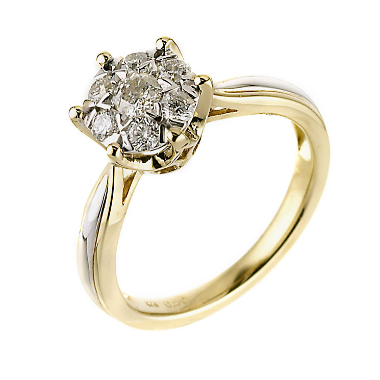 9ct Two Colour Gold Diamond Cluster Ring - Product number 6483194