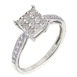 9ct White Gold Third Carat Diamond Cluster Ring