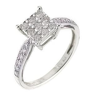 9ct White Gold Third Carat Diamond Cluster Ring