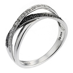 9ct White Gold Black and White Diamond Set Crossover Ring