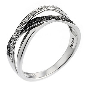 Noir 9ct White Gold White & Treated Black Diamond Ring - Product number 6484808