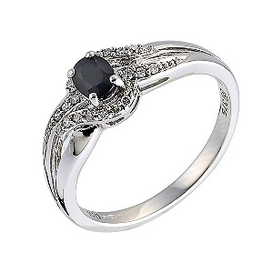 9ct White Gold Sapphire and Diamond Twist Ring