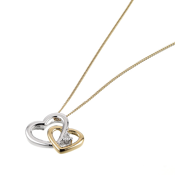 9ct Yellow Gold Diamond Twin Heart Pendant - Product number 6486738