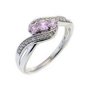 9ct White Gold Diamond and Pink Sapphire 3 Stone Pave Ring