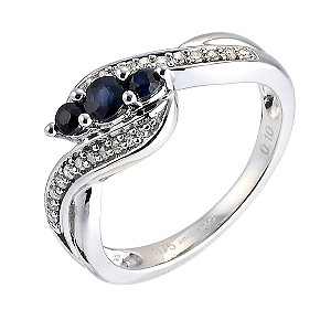 9ct White Gold 3 Stone Sapphire and Diamond Pave Ring