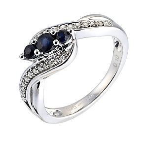 9ct White Gold 3 Stone Sapphire and Diamond Pave Ring - Product number 6487548