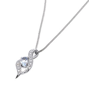 9ct White Gold Diamond Blue Topaz Pendant - Product number 6487688