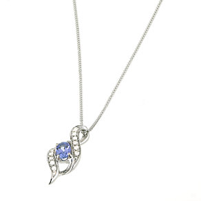 9ct White Gold Diamond Tanzanite Pendant - Product number 6488315