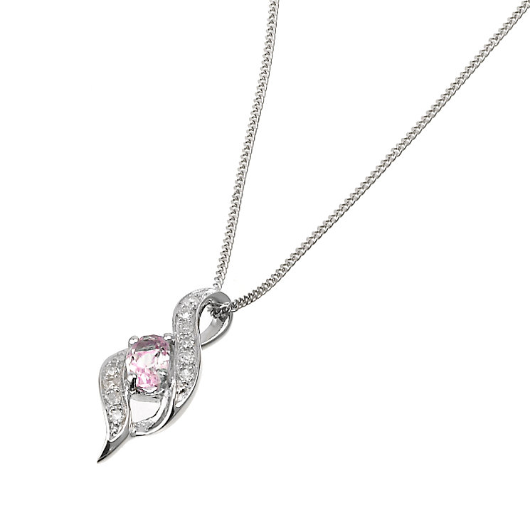 9ct White Gold Diamond Pink Sapphire  Pendant - Product number 6488323