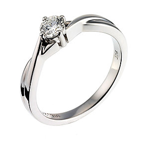 9ct White Gold Quarter Carat Diamond Solitaire Ring - Product number 6489052