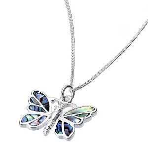 sterling silver abalone 17 quot  butterfly pendant   product number 6506690