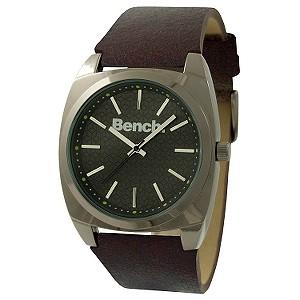 Men` Black Dial Brown Leather Strap Watch