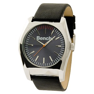 Men` Grey Dial Black Leather Strap Watch