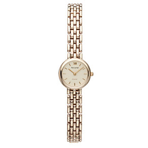 Accurist Gold Ladies' 9ct Gold Cream Dial Bracelet Watch - Product number 6510221