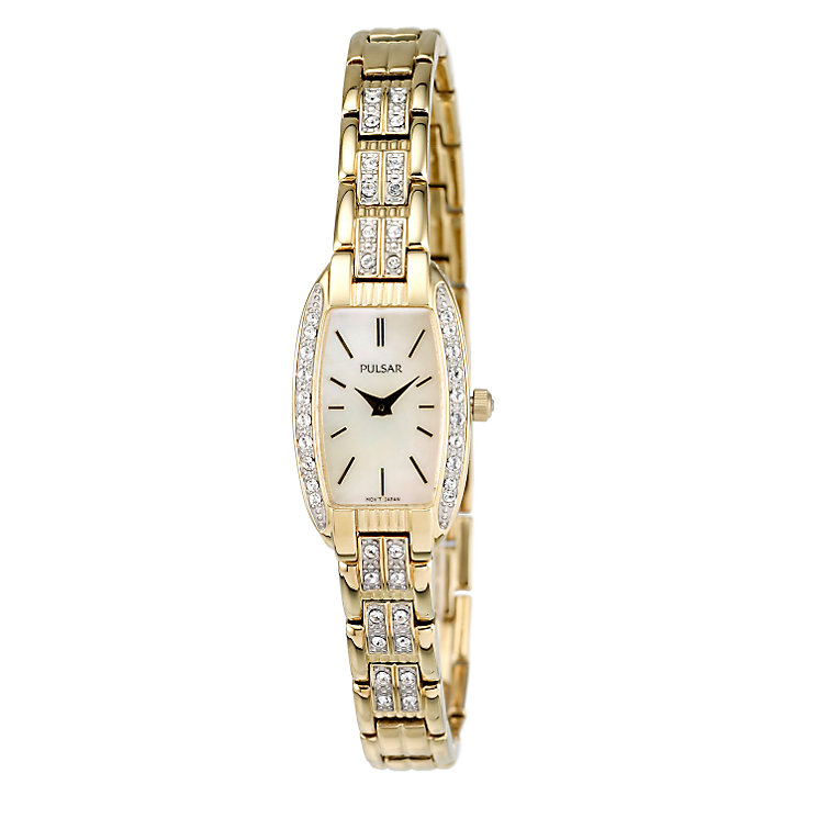 Pulsar Ladies' Gold-Plated Stone Set Bracelet Watch - Product number 6510752