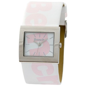 Ladies`Pink Logo White Leather Strap Watch