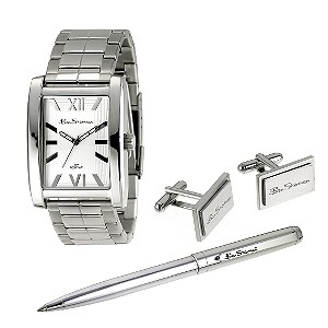 Men` Bracelet Watch, Pen and Cufflink Set